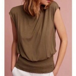 Deletta Olive Green Cinched Waist Cap Sleeve Top